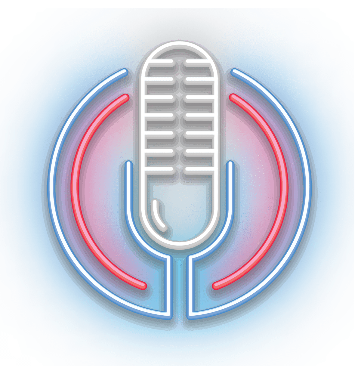Microphone, neon lights, podcast